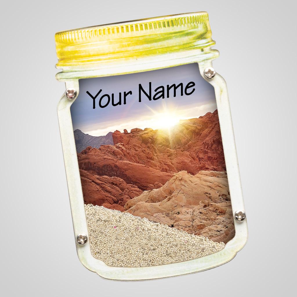 40085DES - Mason Jar Sand-Filled Magnet, Desert Scene