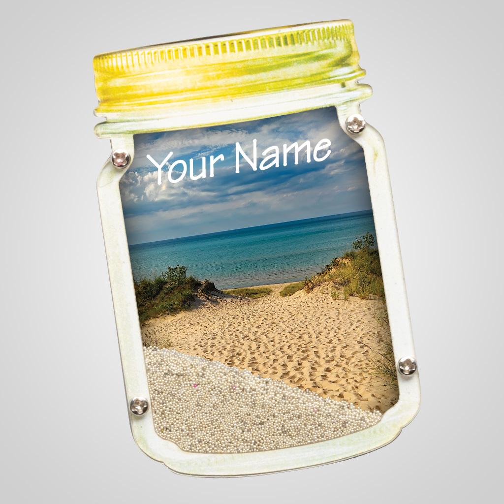 40085SAN - Mason Jar Sand-Filled Magnet, Sand Dunes Design