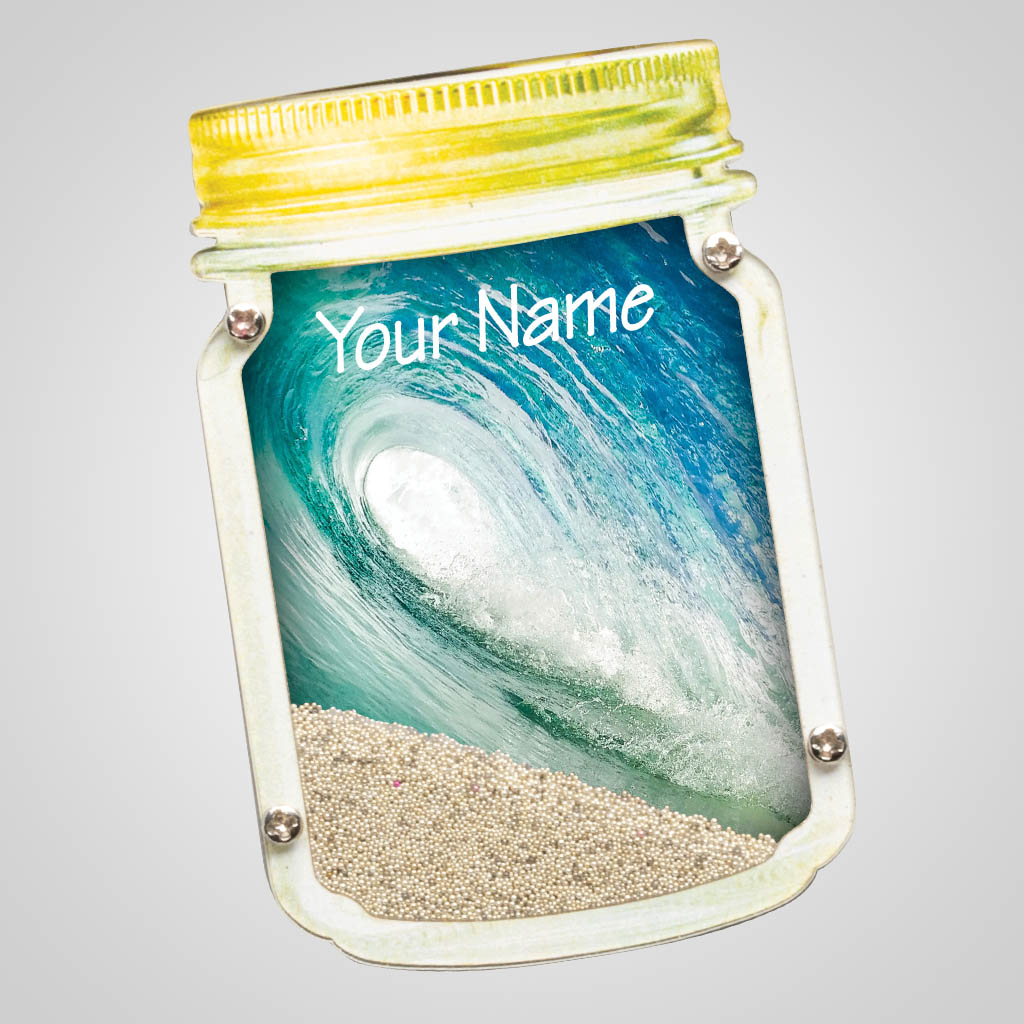 40085WAV - Wave Scene Mason Jar Sand-Filled Magnet - 1 Color Print