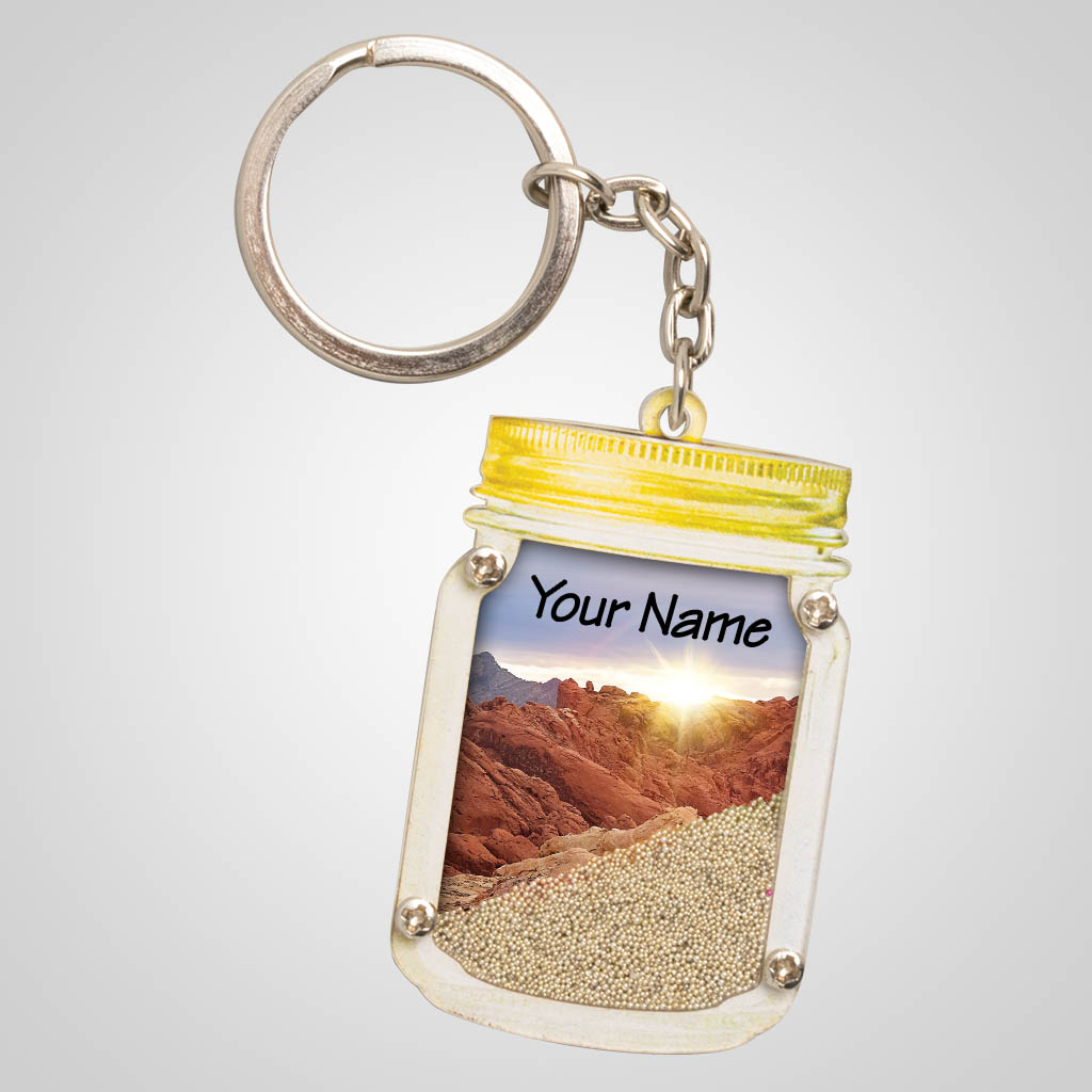 40086DES - Desert Mason Jar Sand-Filled Key Chain - 1 Color Print