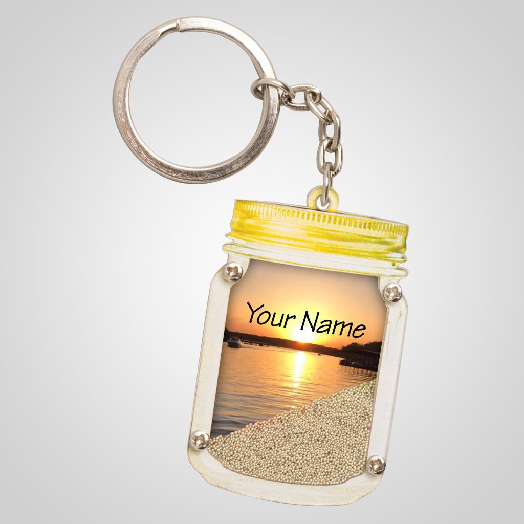 40086JPM - Mason Jar Sand-Filled Keychain, Multi-Color