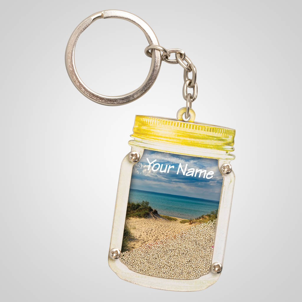 40086SAN - Sand Dune Mason Jar Sand-Filled Key Chain - 1 Color Print
