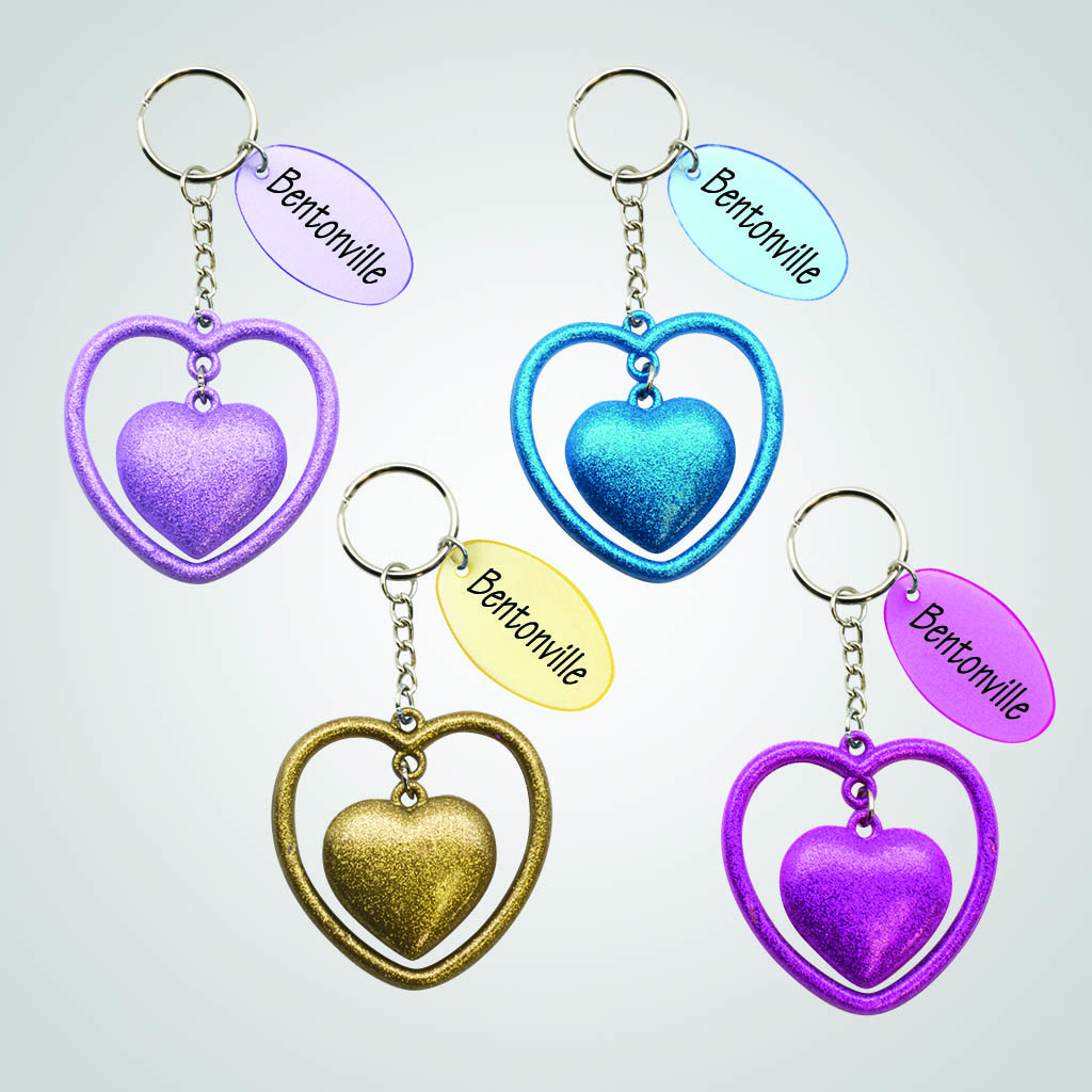40096 - Double Heart Keychain, Name-Drop