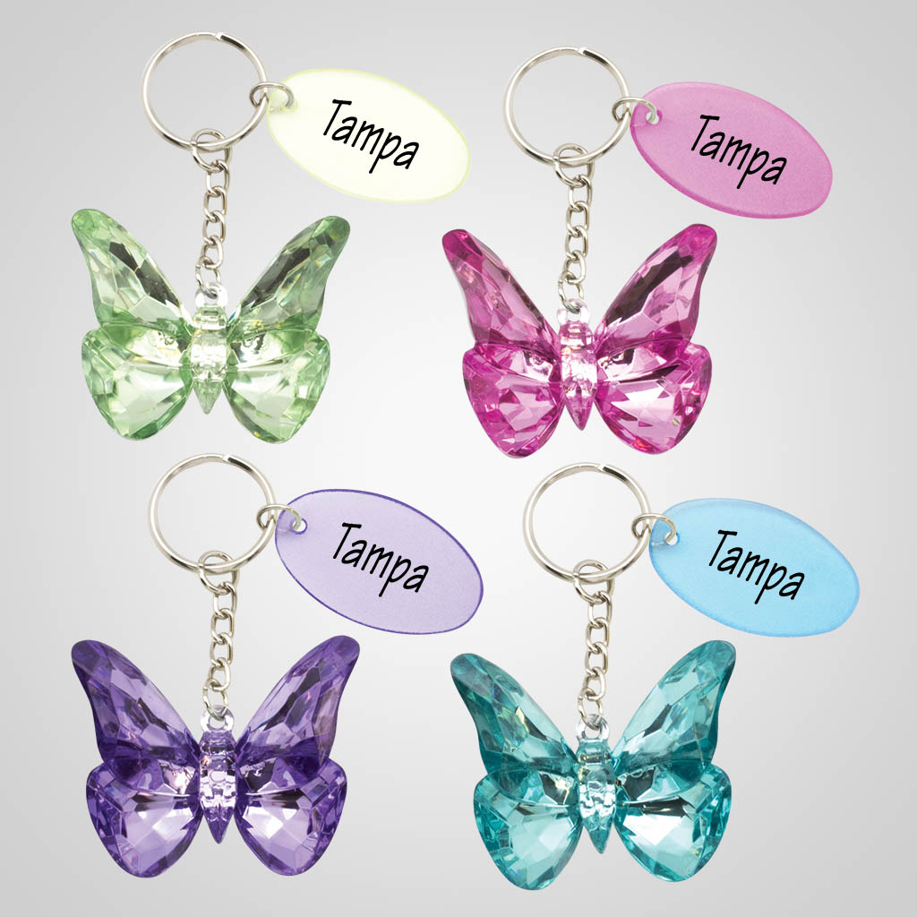 40097 - Acrylic Crystal Butterfly Key Chain
