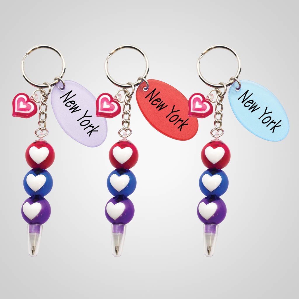 40098 - Three-Heart Pen Keychain, Name-Drop