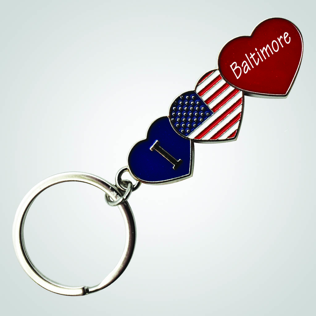 40109 - I Love USA Heart Key Chain