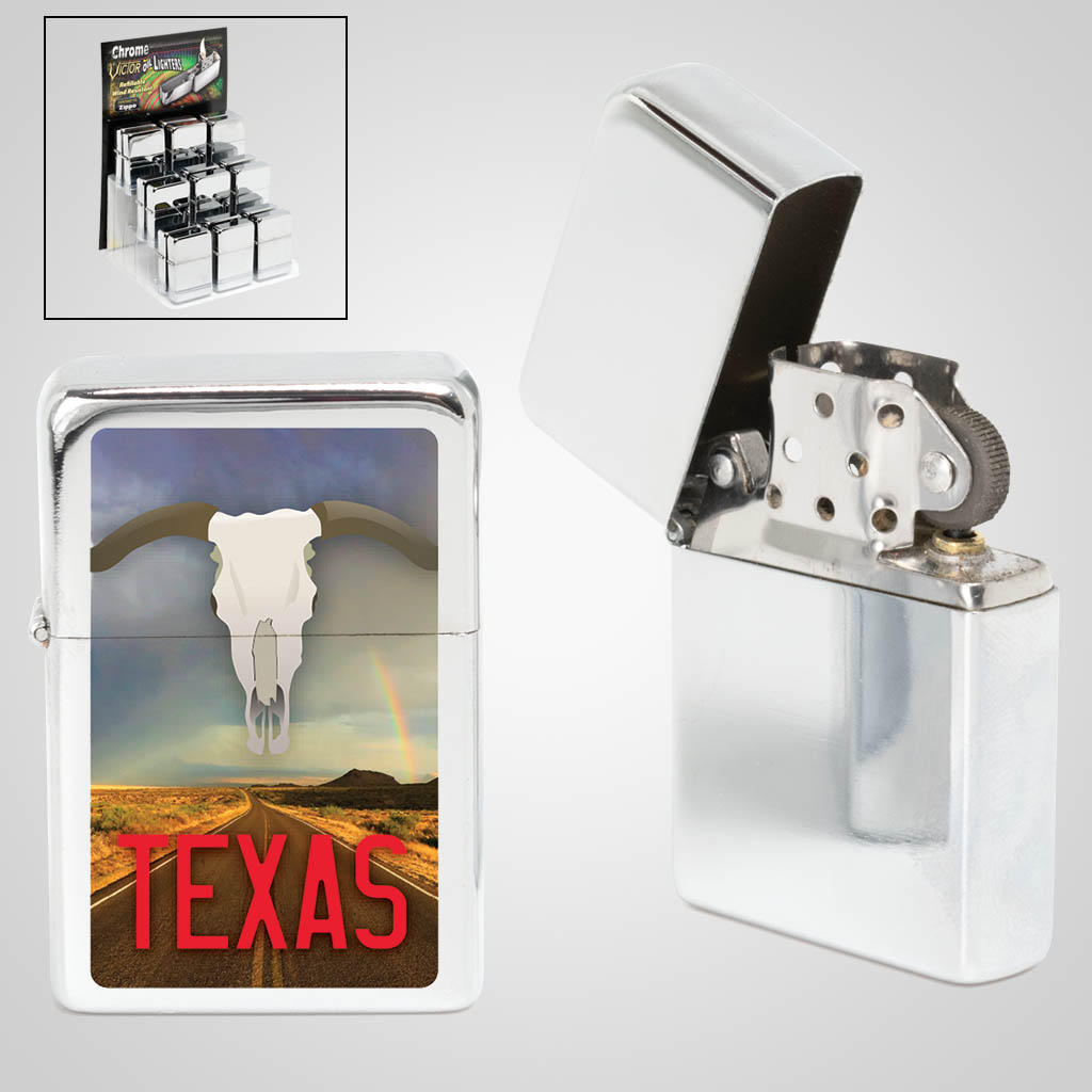 40117TX - Texas Windproof Lighter with Mulit Color print, free display with minimum purchase