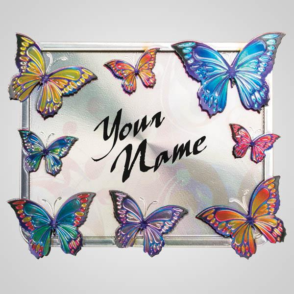 40123 - Butterflies Bi-Level Foil Magnet, Name-Drop