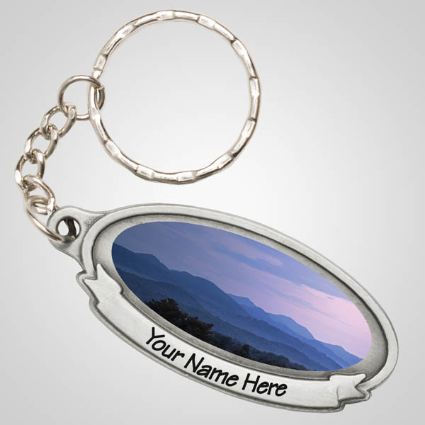 40124JPM - Pewter Oval Keychain, Multi-Color