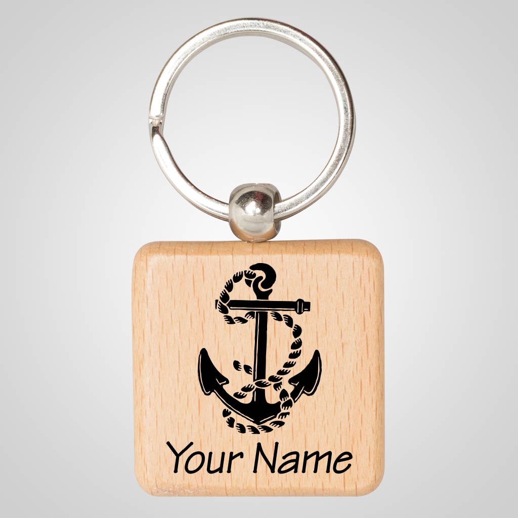 40139JP - Square Wood Keychain, 1 Color