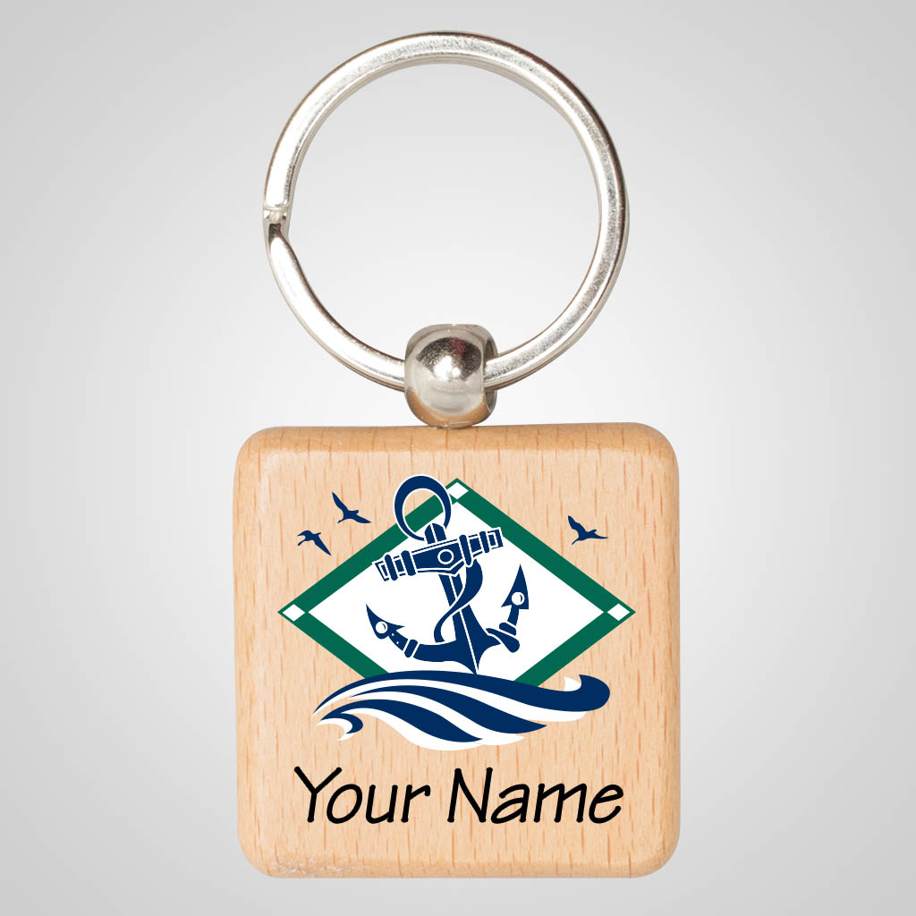 40139JPM - Square Wood Keychain, Multi-Color