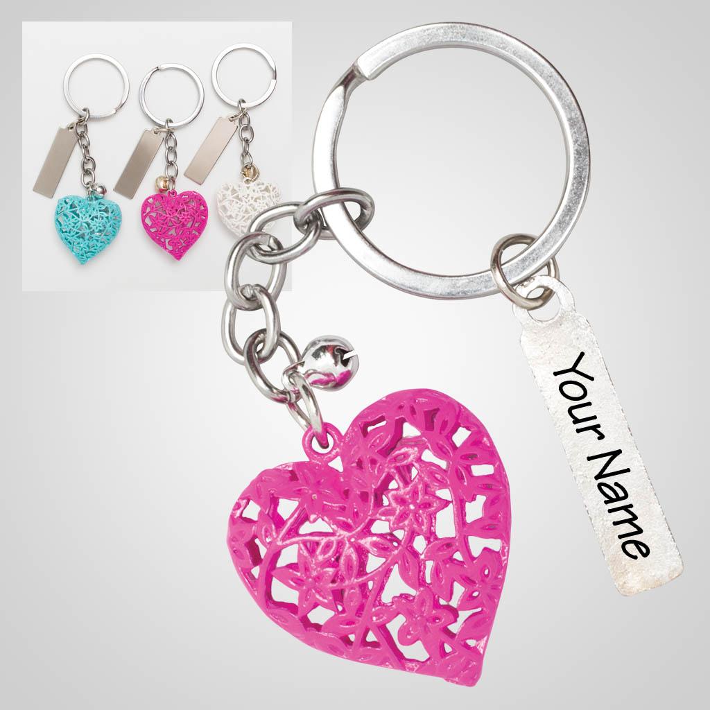 40144 - Filigree Heart Keychain, Name-Drop