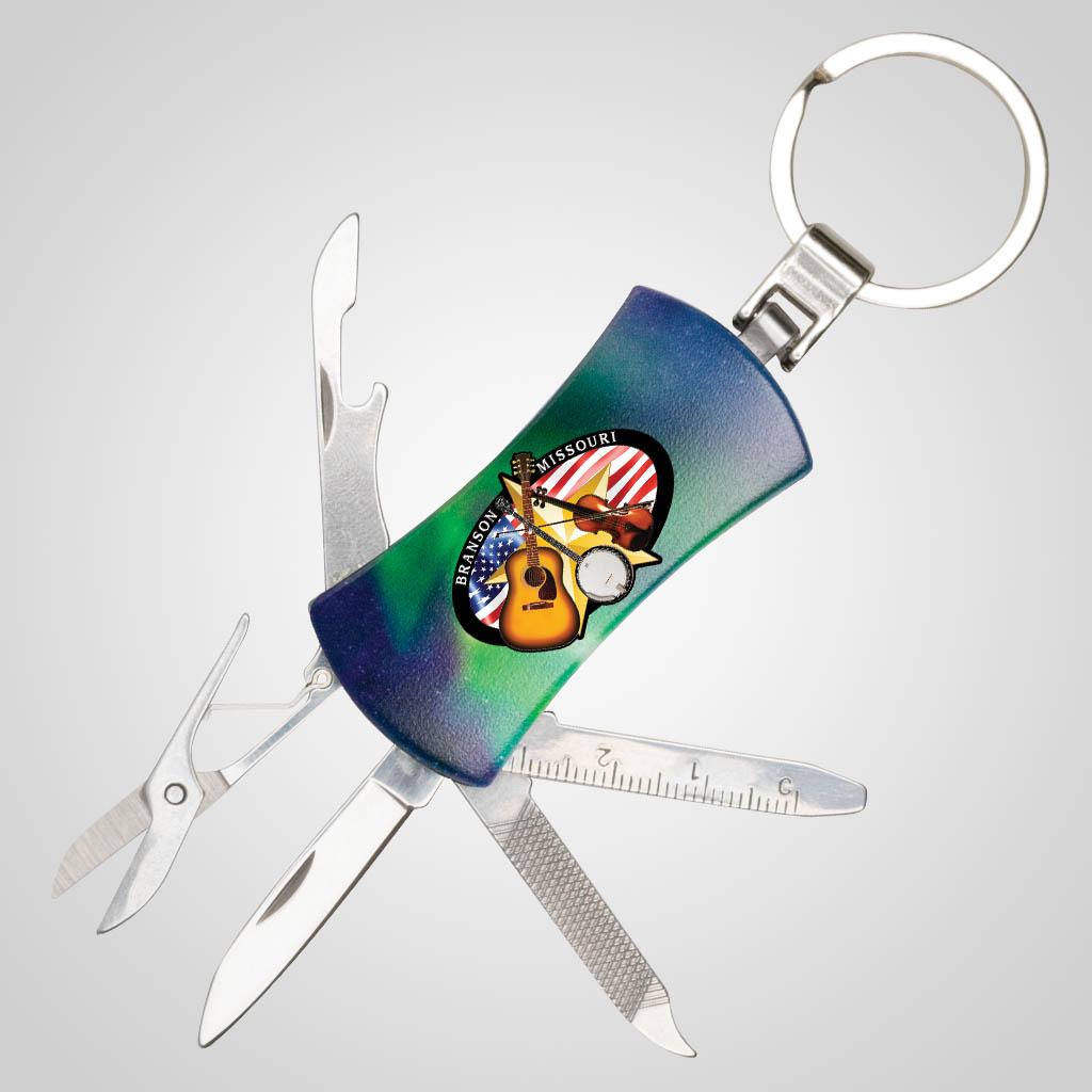40146JPM - Northern Lights Pocket Knife Keychain, Multi-Color