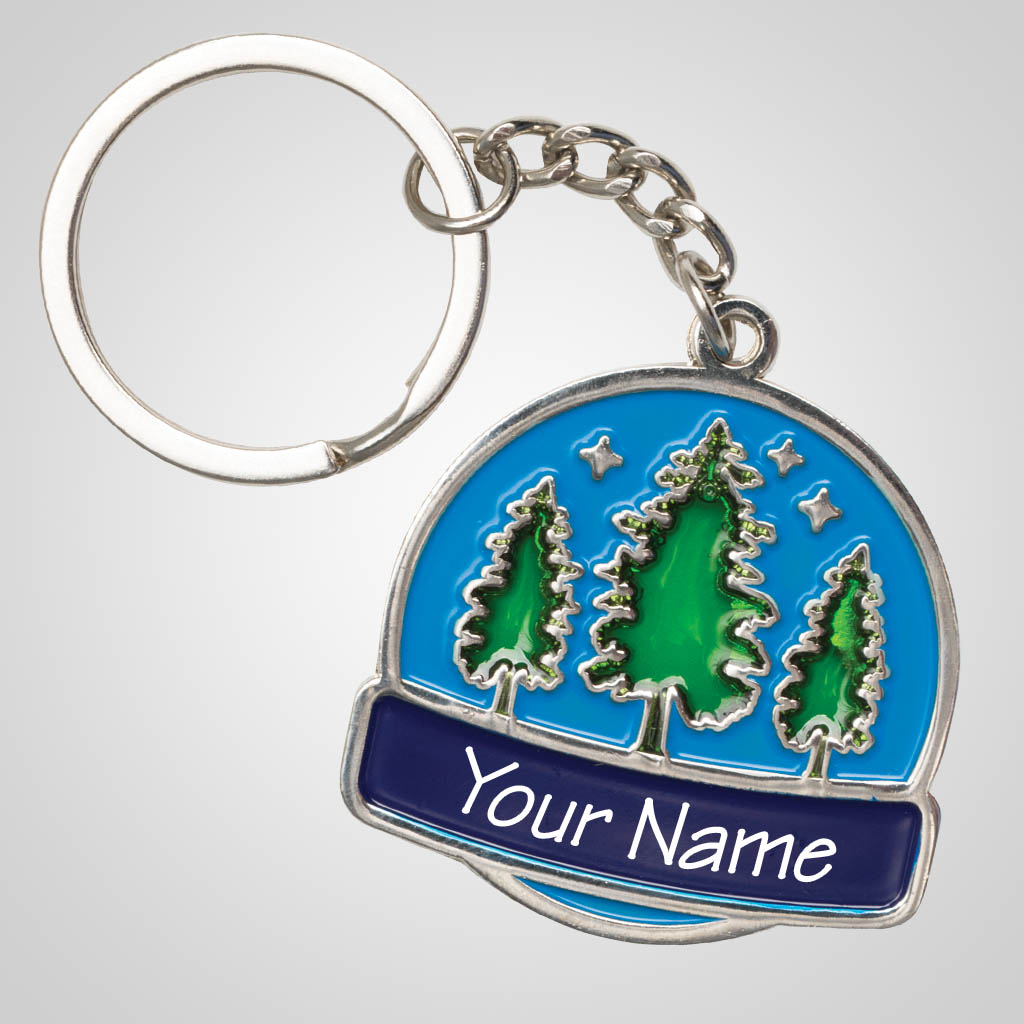 40148 - Trees Stained Glass Keychain, Name-Drop