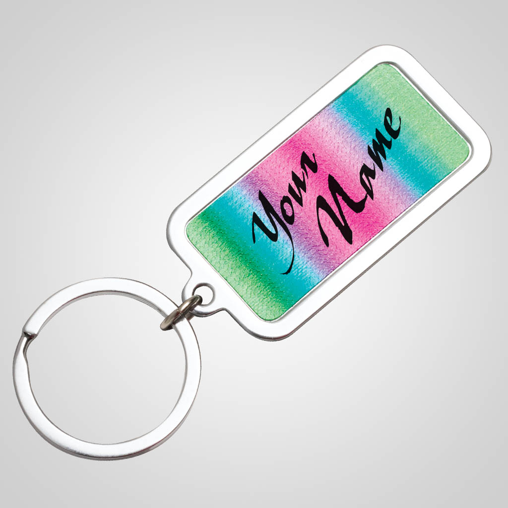 40156 - Gradient Foil Metal Keychain, Name-Drop