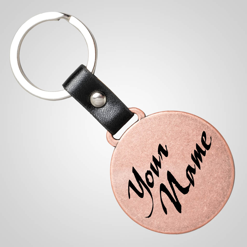 40157 - Copper Finish Round Metal Keychain, Name-Drop