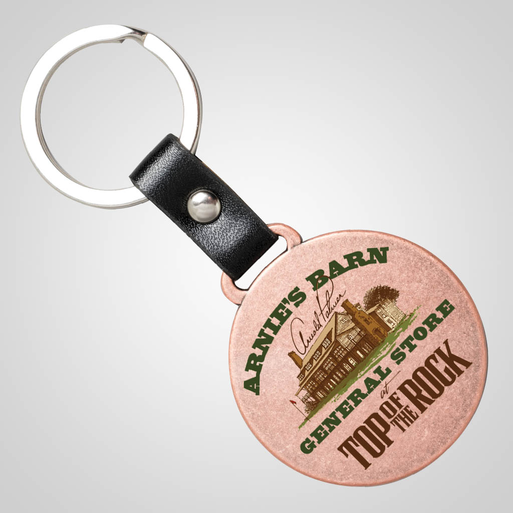 40157JPM - Copper Finish Round Metal Keychain, Multi-Color
