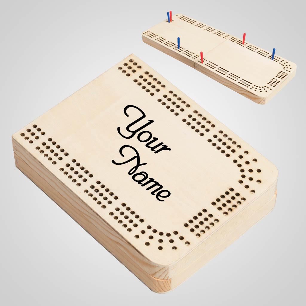 40168 - Folding Wood Cribbage Board, Name-Drop
