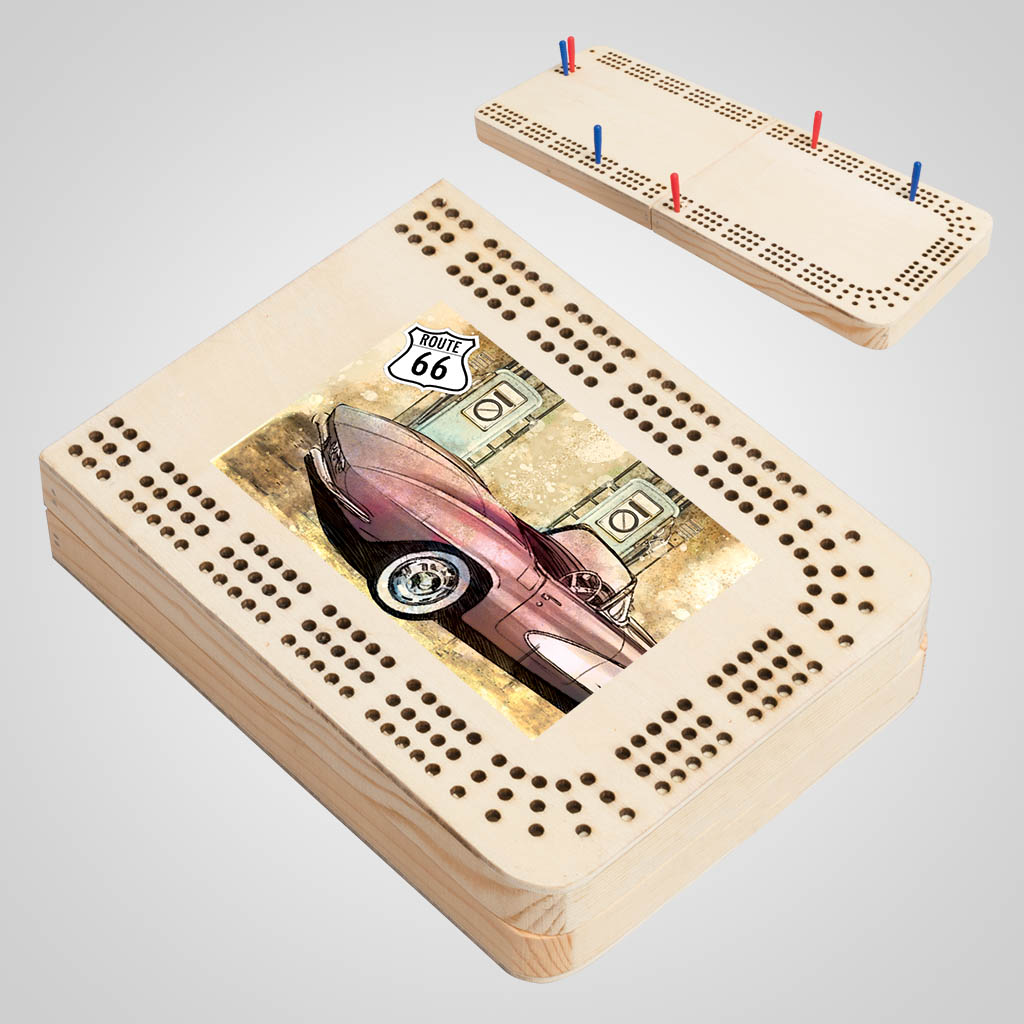 40168JPM - Folding Wood Cribbage Board, Multi-Color