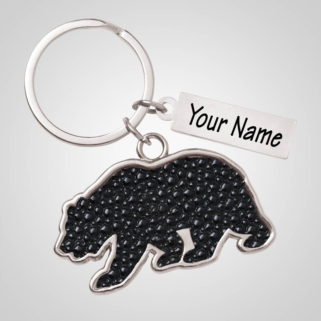 40181 - Leather-Look Bear Keychain, Name-drop