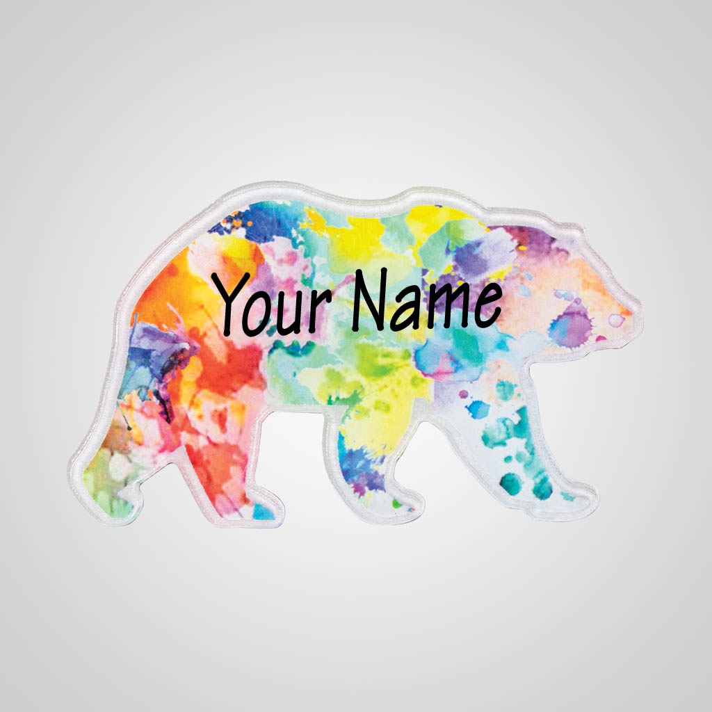 40184 - Watercolor Bear Acrylic Magnet, Name-Drop