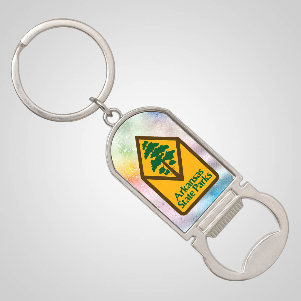 40185JPM - Foil Background Bottle Opener Keychain, Multi-Color Print