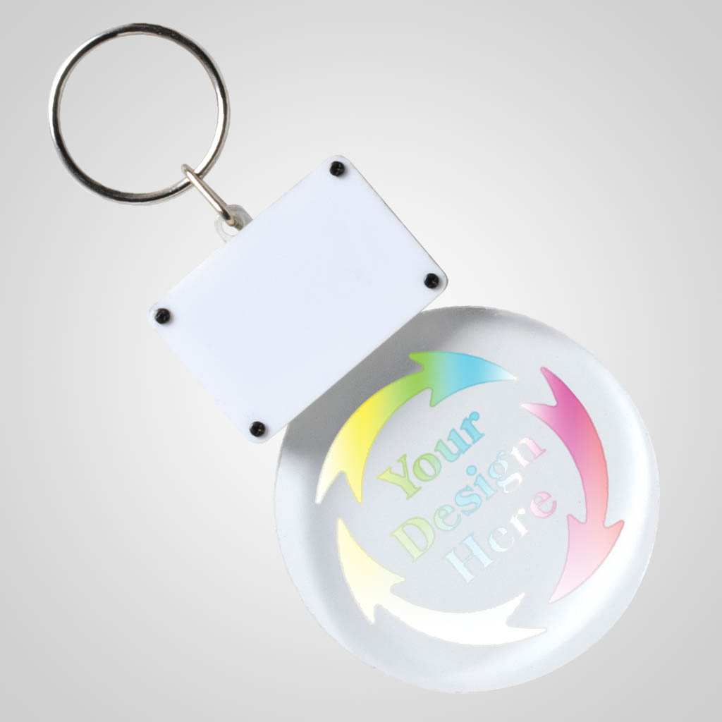 40189JP - Light-Up Clear Acrylic LED Keychain, 1 Color Print