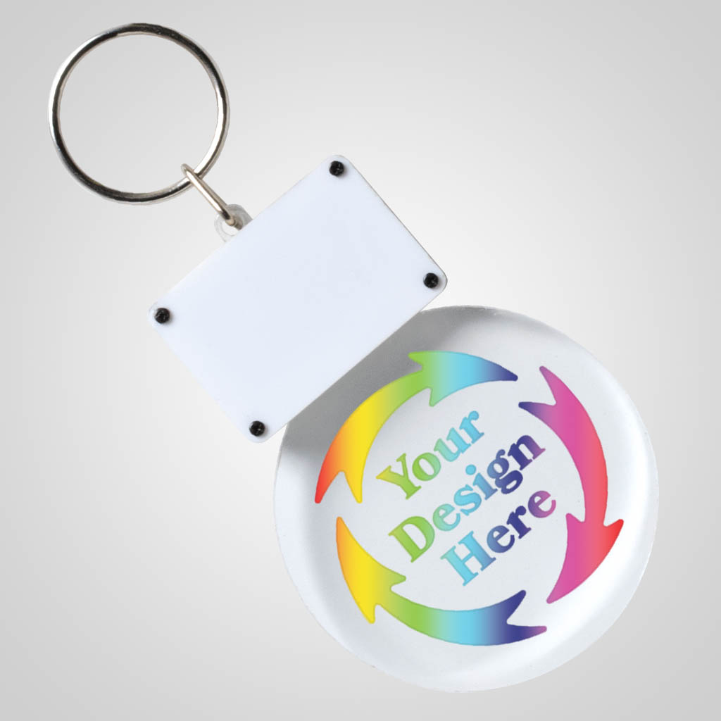 40189JPM - Light-Up Clear Acrylic LED Keychain, Multi-Color Print