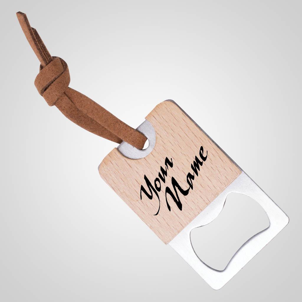 40193 - Wood & Metal Bottle Opener, Name-drop