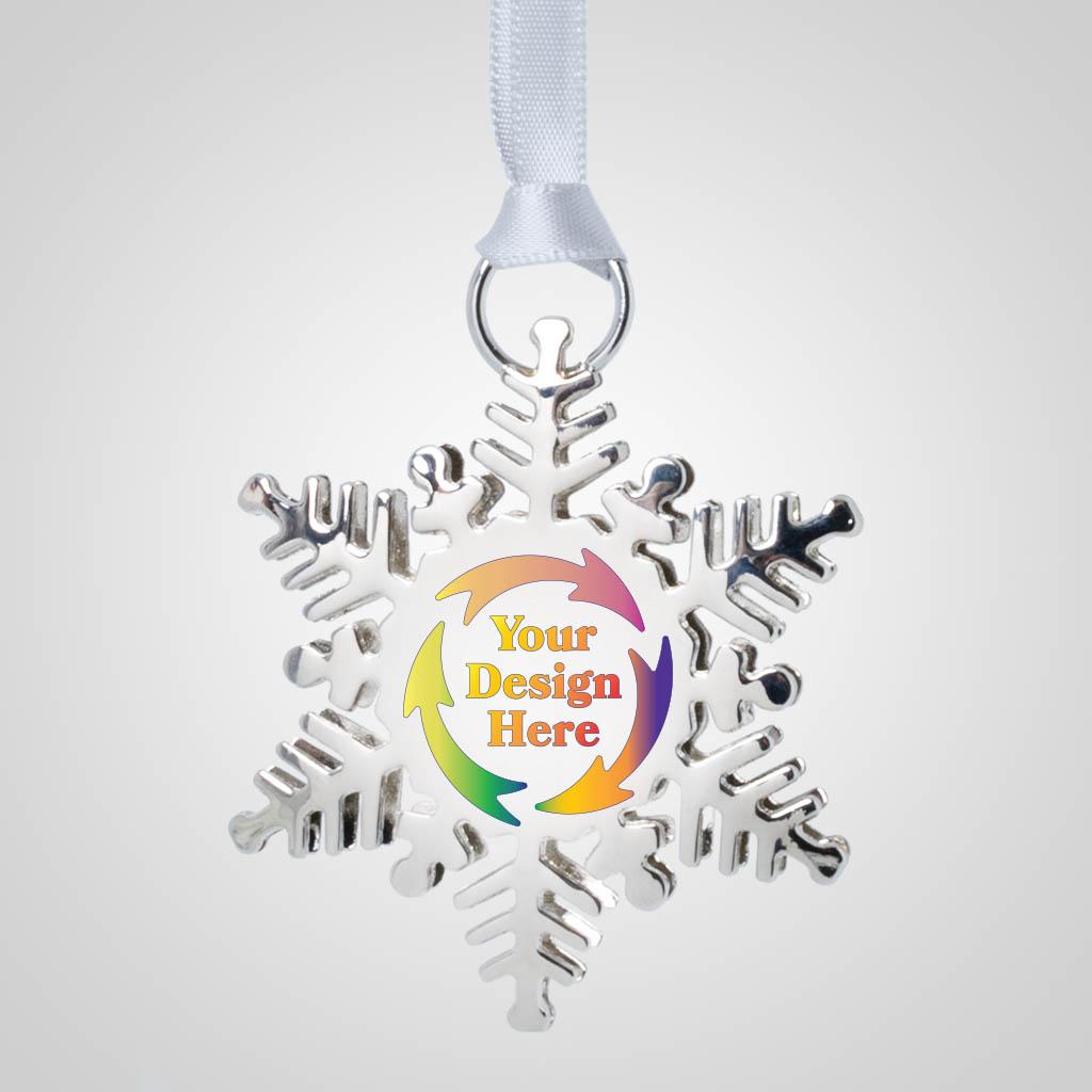 40194JPM - Metal Snowflake Ornament, Multi-Color Print