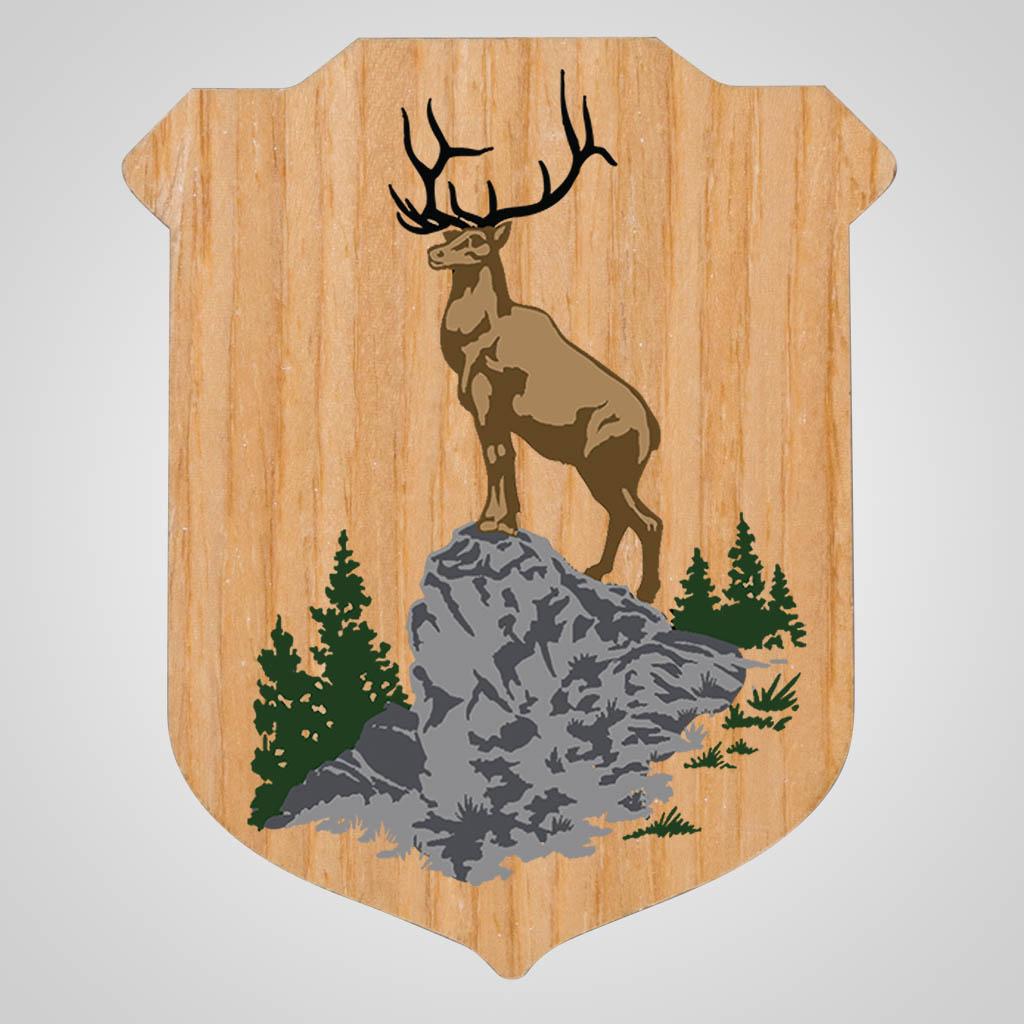 40199JPM - Wood Shield Badge Magnet, Multi Color Print