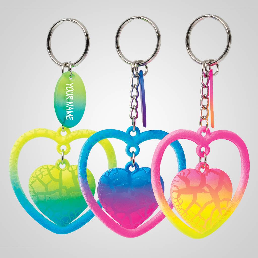 40201 - Neon Crackle Heart Keychain, Name-Drop