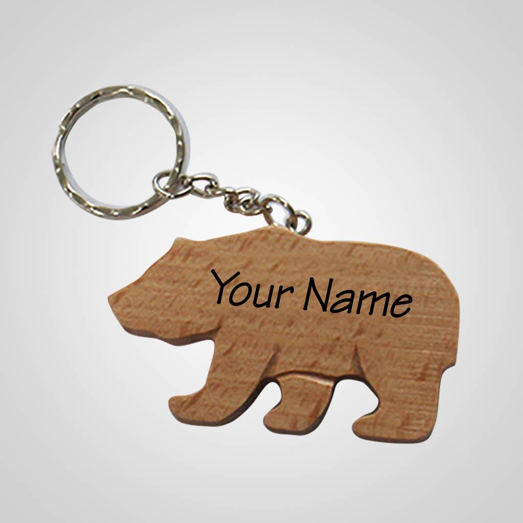 40203 - Wood Bear ShapedKeychain Name Drop