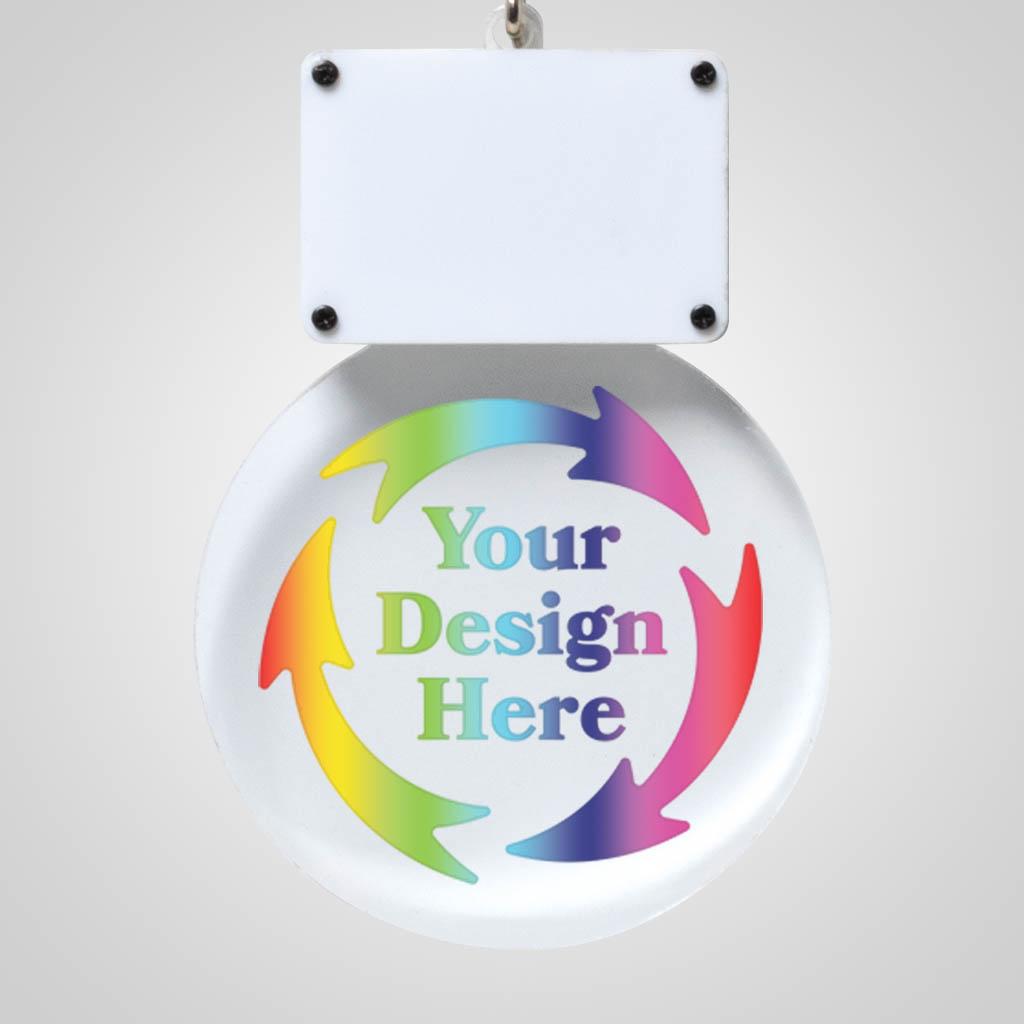 40204JPM - Light-Up Clear Acrylic LED Ornament, Multi Color Print