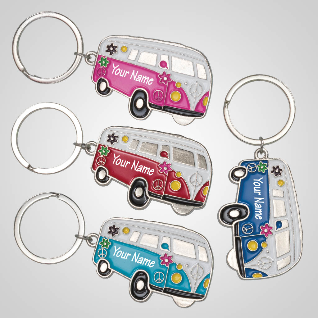 40205 - Hippy Camper Van Keychain, Name-Drop