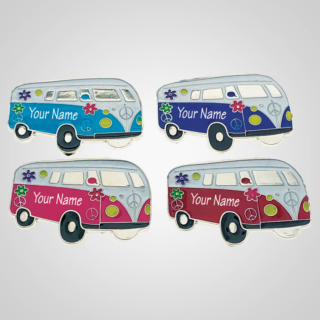 40206 - Hippy Camper Van Magnet, Name-Drop