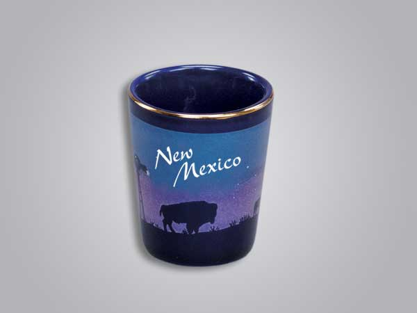 54010NM - Cobalt Prairie Scene Shot Glass - Imprinted