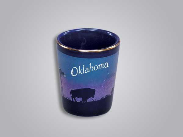 54010OK - Cobalt Prairie Scene Shot Glass - Imprinted