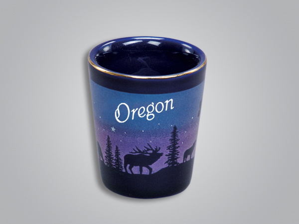 54011OR - Cobalt Elk/Forest Shotglass - Imprinted