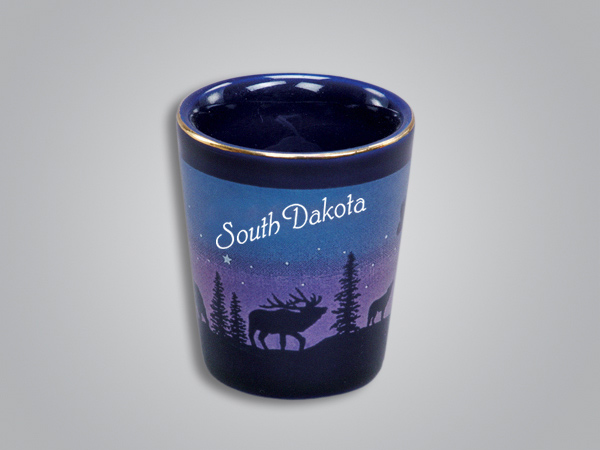 54011SD - Cobalt Elk/Forest Shotglass - Imprinted
