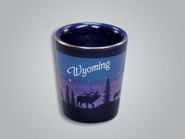 54011WY - Cobalt Elk/Forest Shotglass - Imprinted