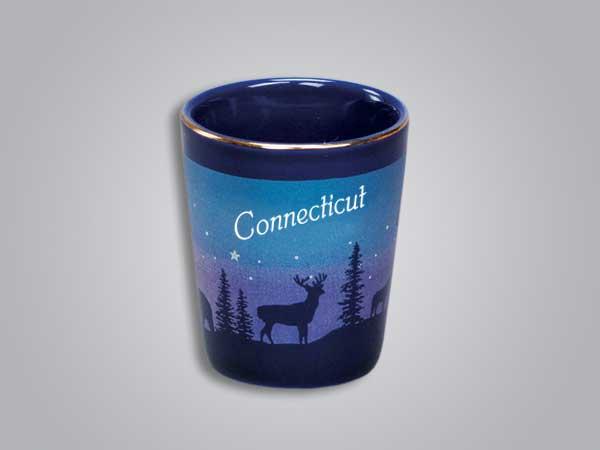54012CT - Cobalt Deer/Forest Shot Glass - Imprinted