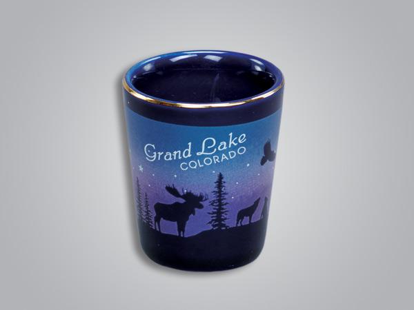 54013IN - Cobalt Moose/Forest shot glass - Imprinted