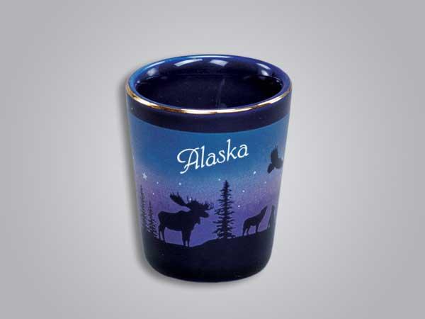 54013AK - Cobalt Moose/Forest shot glass - Imprinted