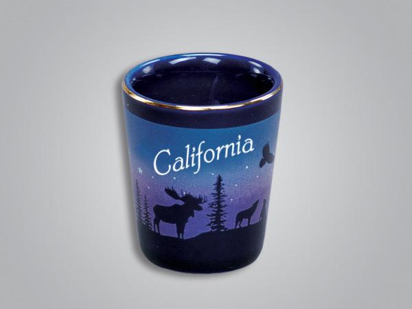 54013CA - Cobalt Moose/Forest shot glass - Imprinted