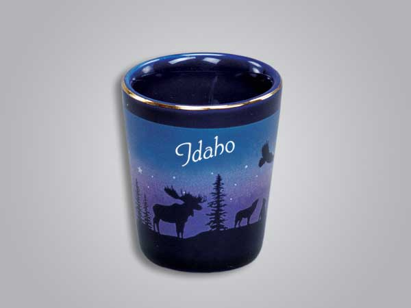 54013ID - Cobalt Moose/Forest shot glass - Imprinted