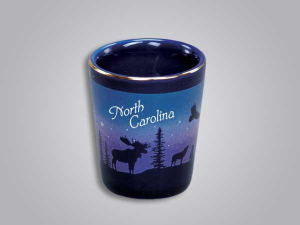 54013NC - Cobalt Moose/Forest shot glass - Imprinted