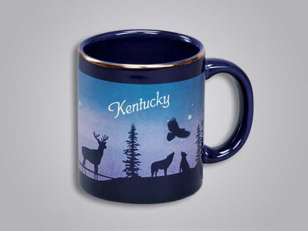 54073KY - Cobalt Deer/Forest Mug - Imprinted