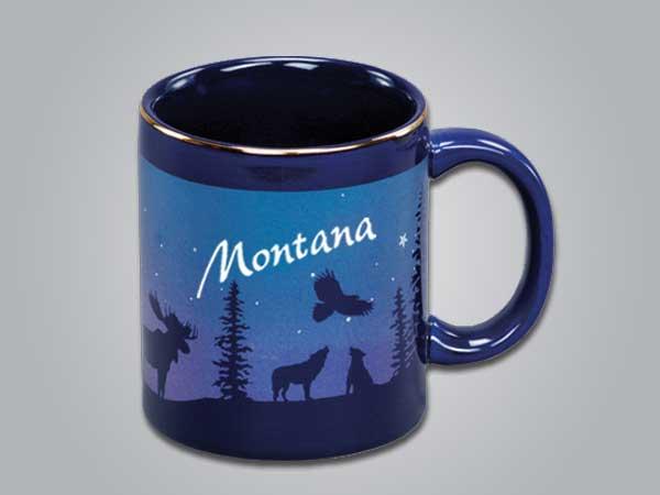 54075NY - Cobalt Moose/Forest Mug - Imprinted