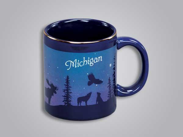 54075MI - Cobalt Moose/Forest Mug, Michigan
